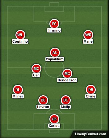 liverpool v sunderland lineup