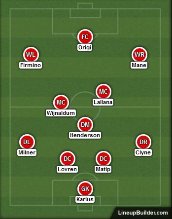 Liverpool v West Ham lineup