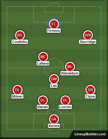 Liverpool line up against southampton - 25th jan 2017