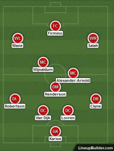 Possible Liverpool Lineup Versus Chelsea 6th May 2018