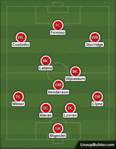 Liverpool line up against Swansea - 21st Jan 2017