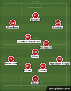 Possible Liverpool Lineup v Maribor 1st November 2017