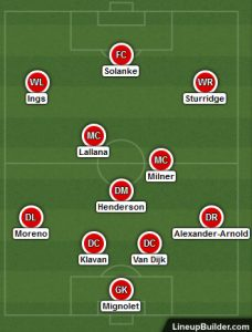 Possible Lineup Versus West Brom 27th January 2018