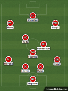 Possible Liverpool Lineup Versus Chelsea on 26th September 2018